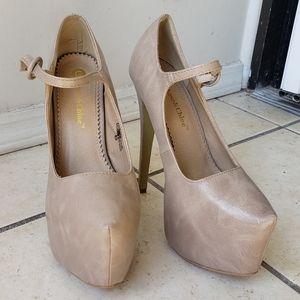 Leather nude platform heels